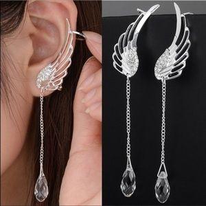 NWB 925 Sterling Silver Angel Cuff Crystal Earring